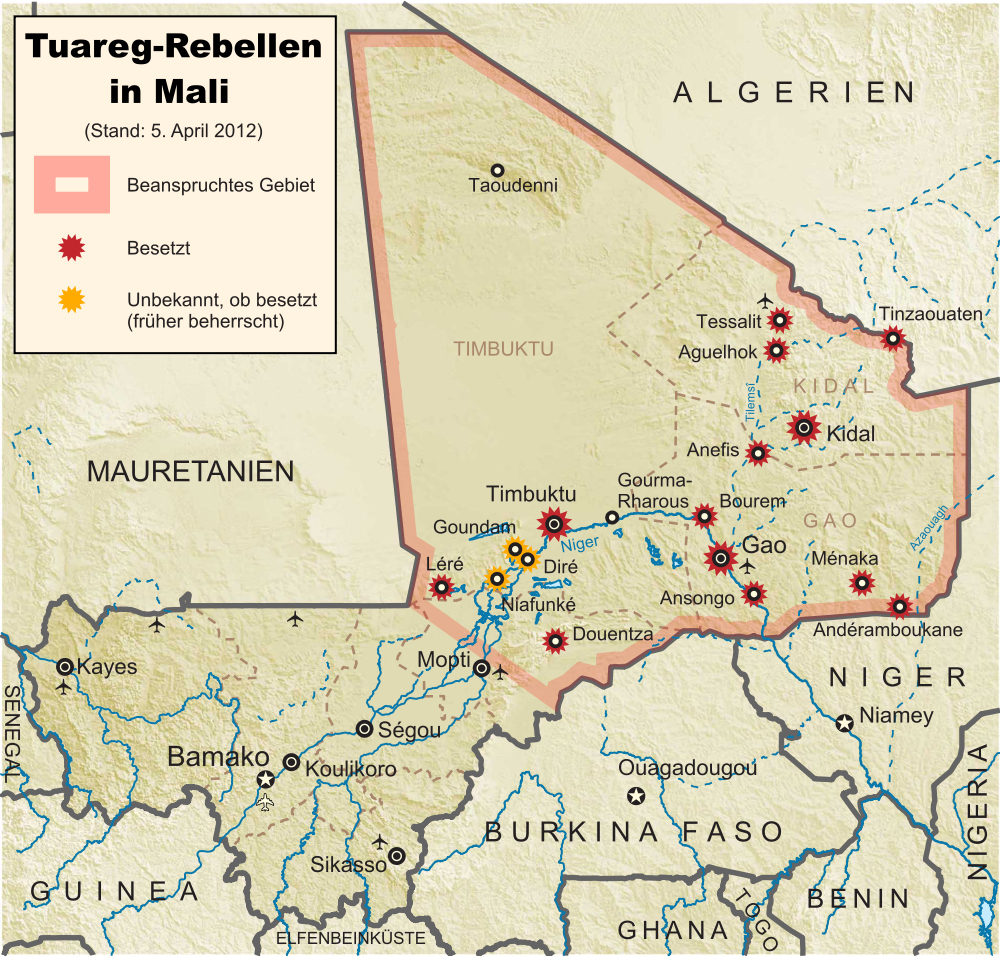 Tuareg-Rebellen in Mali: Stand 2012-04-01 (Wikipedia)