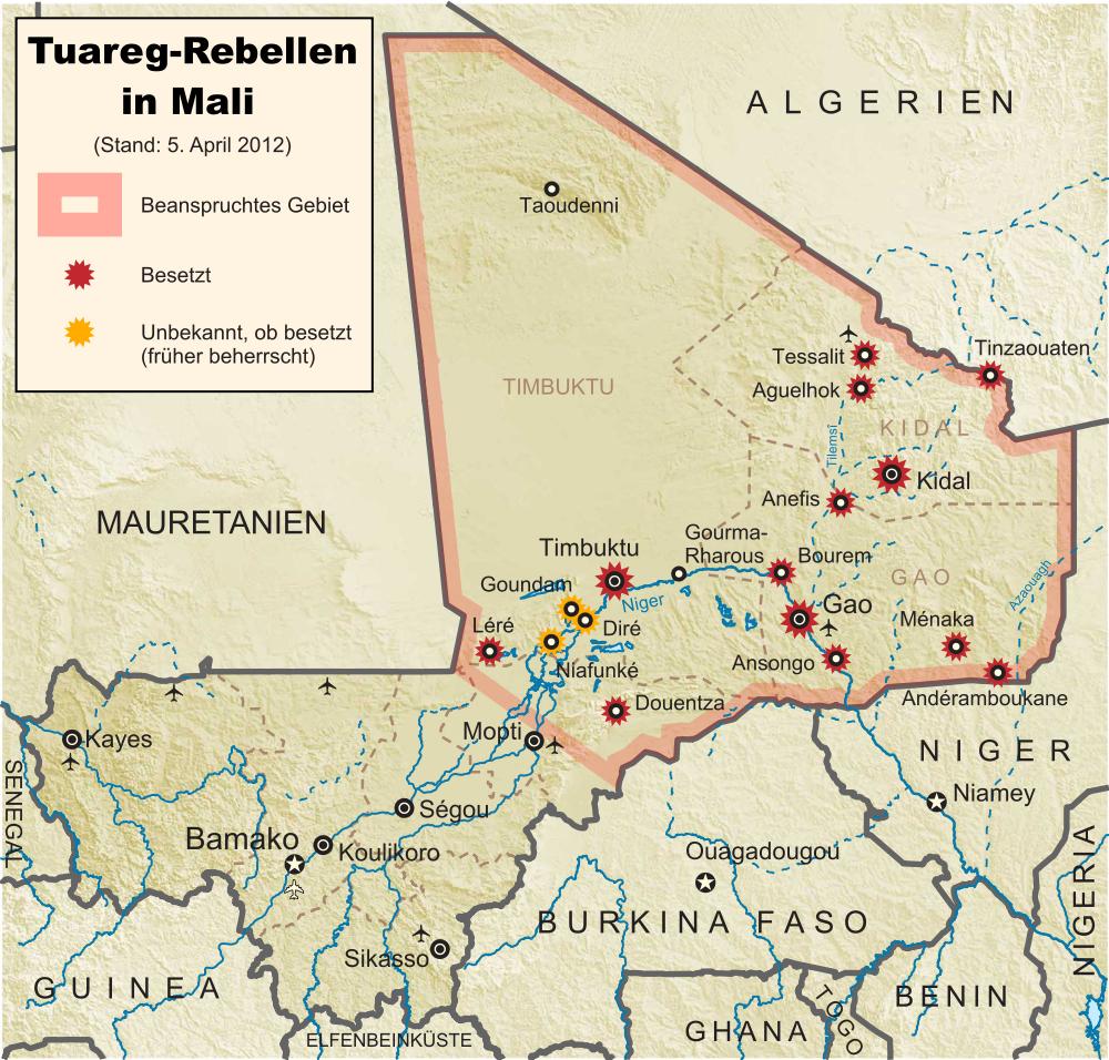 Tuareg-Rebellen in Mali: Stand 2012-04-01 (Wikipedia)