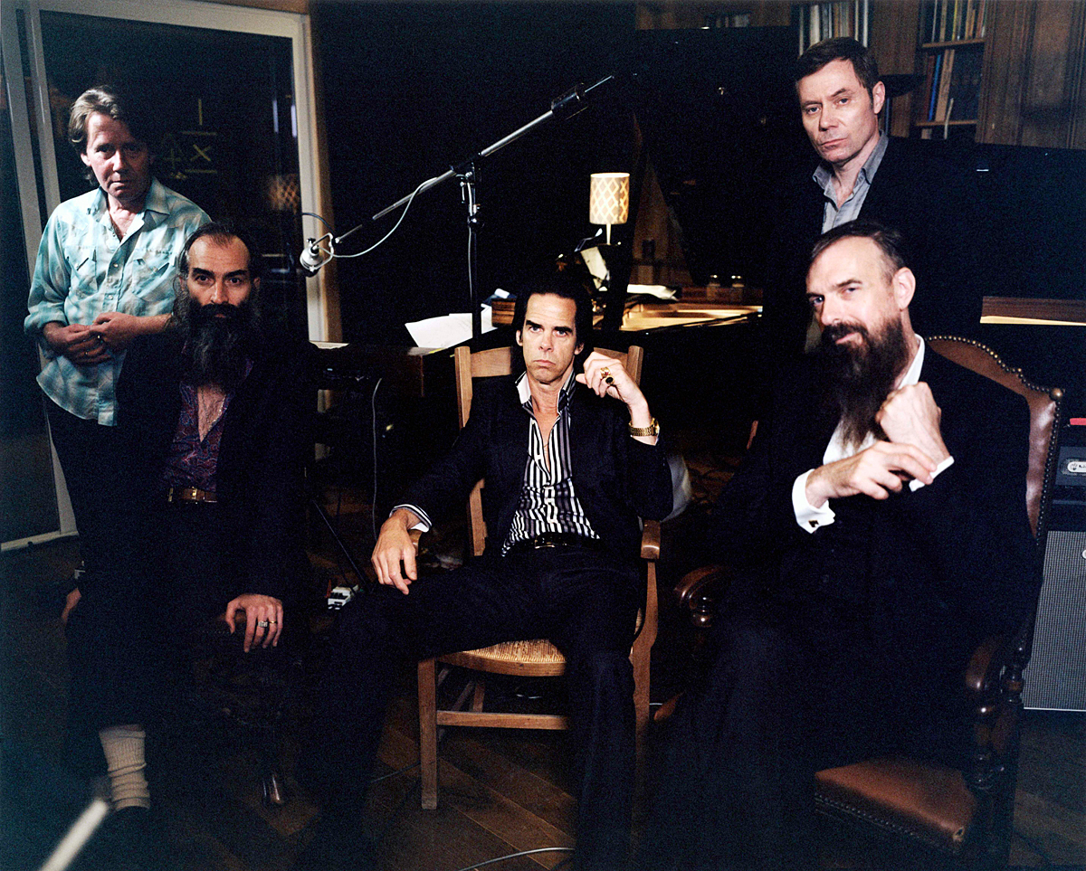 Bad Seeds 2013: from left: Martyn Casey, Warren Ellis, Nick Cave, Thomas Wydler and Jim Sclavunos