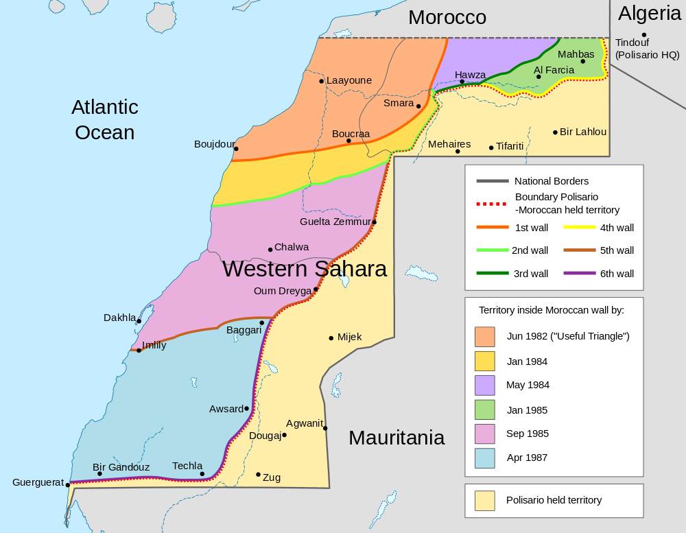 Map of the Moroccan Wall in Western Sahara (Quelle: Wikipedia)