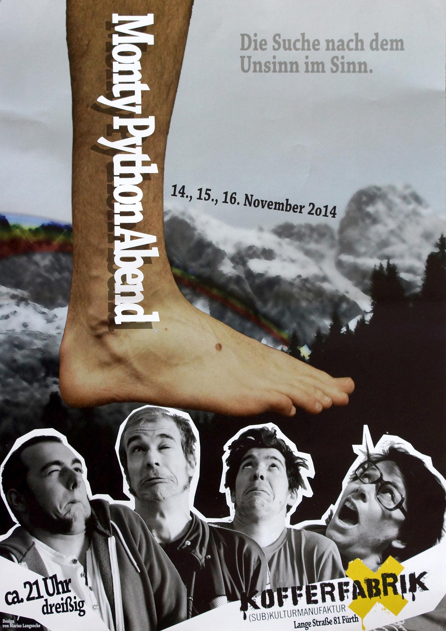 Die Suche nach dem Unsinn im Sinn: Plakat für den Monty Python Abend in der Kofferfabrik