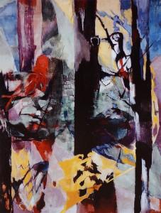 Ernst Weiers: Zwei Vögel im herbstlichen Wald (1957)