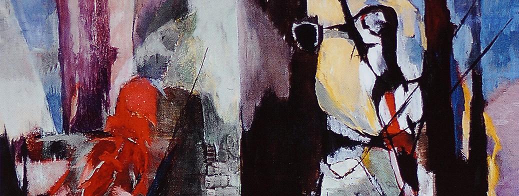Ernst Weiers: Zwei Vögel im herbstlichen Wald (1957) (Ausschnitt für Artikelbild)